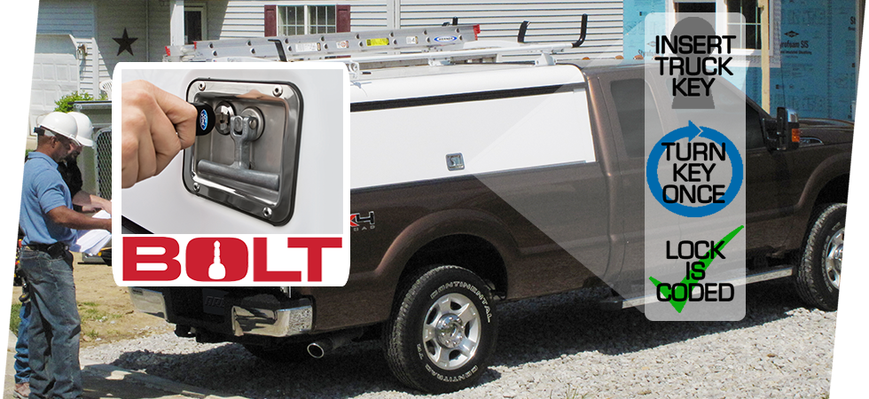 Integrated Bolt locks makes your truck key the only one you need.