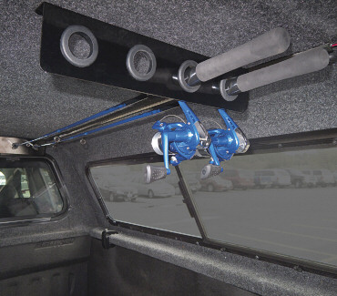 Fishing rod holders a r e truck caps and tonneau covers for Fishing rod holder for truck cap